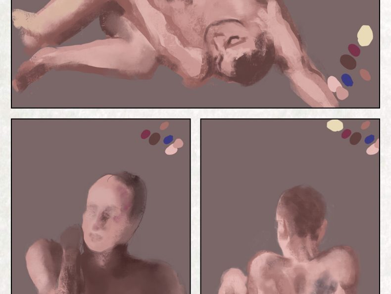 three pictures of attempts at rendering a dancer in pastel (nudes)
